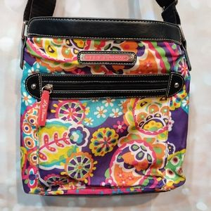 Lily Bloom Floral Crossbody Purse Lots of Pockets!